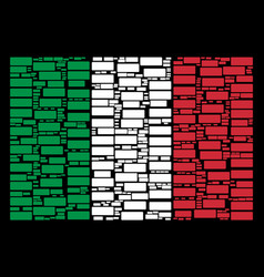 italy flag collage of building brick icons vector image