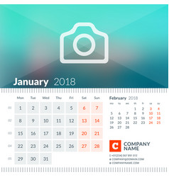 january 2018 calendar for 2018 year week starts vector image