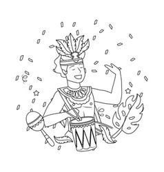 Man celebrating brazil carnival in black and white vector