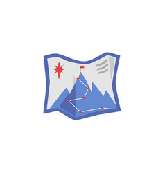 map icon with alpinist route and mountain peak vector image