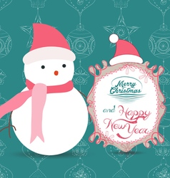 Merry Christmas with snowman greeting card vector