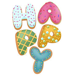 mixed color donut happy insignia top view for vector image