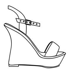 monochrome silhouette of sandal shoe with platform vector image