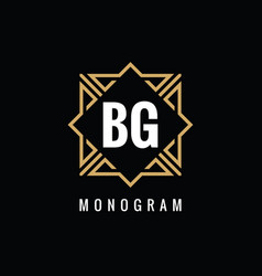 monogram bg initial letters - concept logo vector image