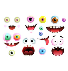 Monsters eyes and mouth smiling collection vector