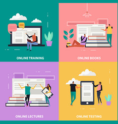 Online education flat design concept vector