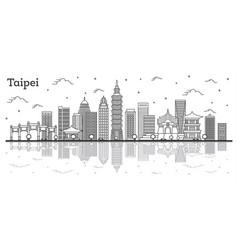 outline taipei taiwan city skyline with modern vector image