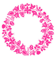 Pastel pink laurel wreath frame on white vector