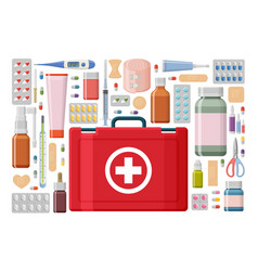 Pharmacy background medical first aid kit with vector