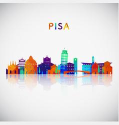 pisa skyline silhouette in colorful geometric vector image