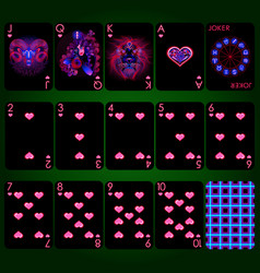playing cards series neon zodiac signs heart vector image