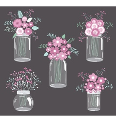 Purple Flowers In Jars vector image