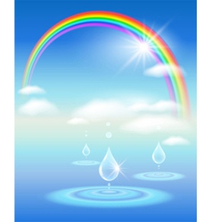 Rainbow water and sunshine vector
