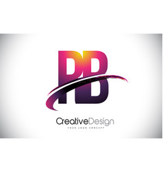 Rb r b purple letter logo with swoosh design vector