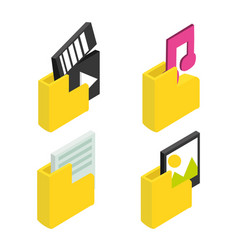 set files with apps technology connection vector image