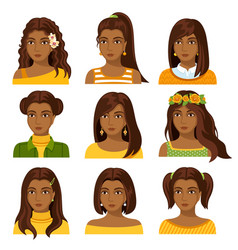 set of african woman faces with various hairstyle vector image