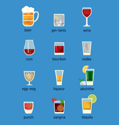 Set of different drinks cocktails and beer vector