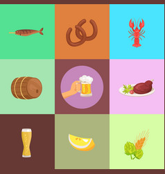 Set of food and beer types vector