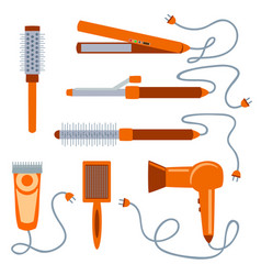 set of hair dryers on a white background vector image