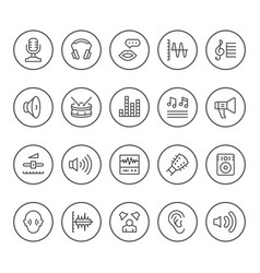 set round line icons of sound vector image