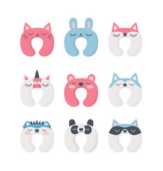 set sleep neck pillows with cute animals night vector image
