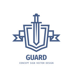 Shield and sword - logo template design vector