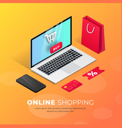 shopping online laptop isometric vector image