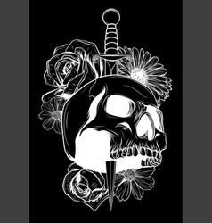 Skull and flowers in black background vector