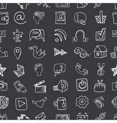 Social Media Icon seamless patternDoodle sketchy vector image