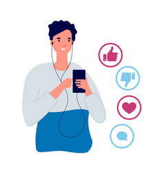 social network actions like dislike share or vector image