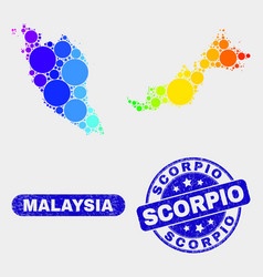 Spectral mosaic malaysia map and scratched scorpio vector