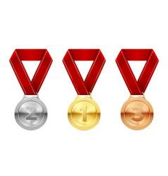 Sport medals set reward honor symbol vector