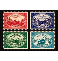 stamps with fir forest and mountains vector image
