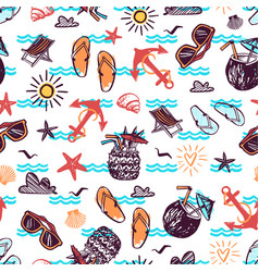 Summer seamless pattern with hand drawn vector