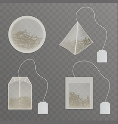 Teabags with blank tag realistic collection vector