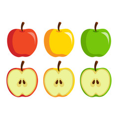 the set of redgreen and yellow apples vector image