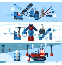 Three Flat Horizontal Skiing Banners vector image