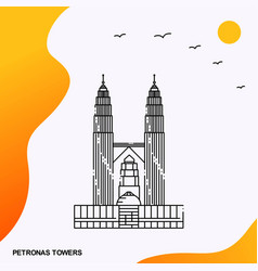 Travel petronas towers poster template vector