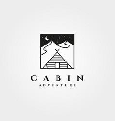 Vintage cabin line art logo symbol design vector