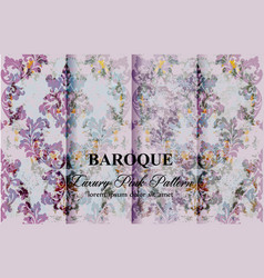 vintage colorful floral baroque pattern set vector image