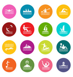 water sport icons many colors set vector image