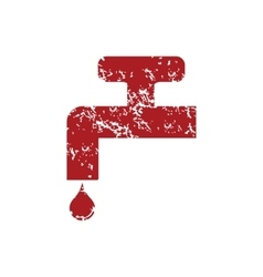 Watertap red grunge icon vector