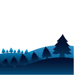 winter landscape pine trees forest vector image