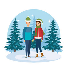 young couple with winter clothes in the landscape vector image