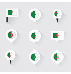 algeria flag and pins for infographic and map vector image vector image
