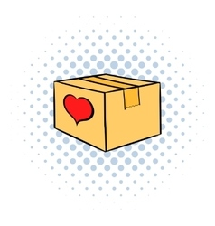 Cardboard box with heart icon comics style vector image