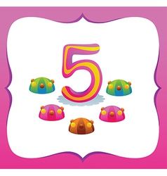Collection Sweet Numbers for Kids 5 vector image vector image