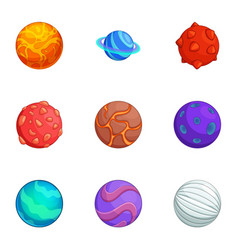 fantasy colorful planets icons set cartoon style vector image