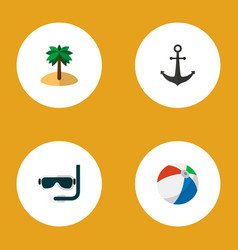 icon flat beach set of anchor ball palm and vector image