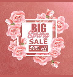 sale banner design with roses and frame vector image